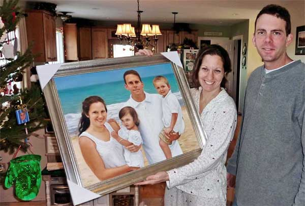 Family at the Beach Oil Portrait
