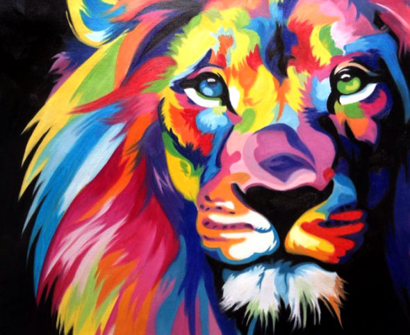 colorful lion oil painting local artists