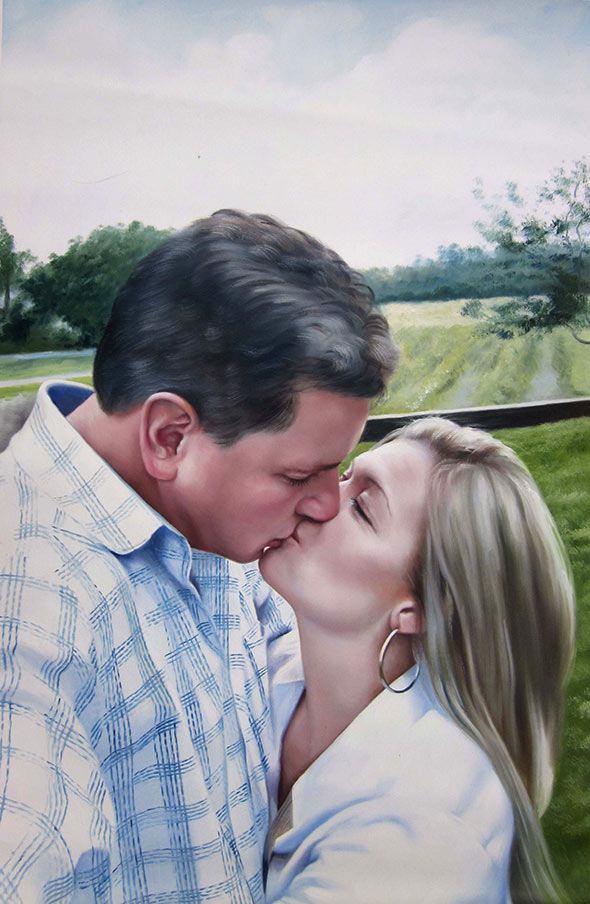 photo to oil painting of white couple kissing outside