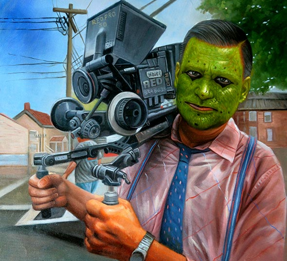 custom oil painting of camera man with mask