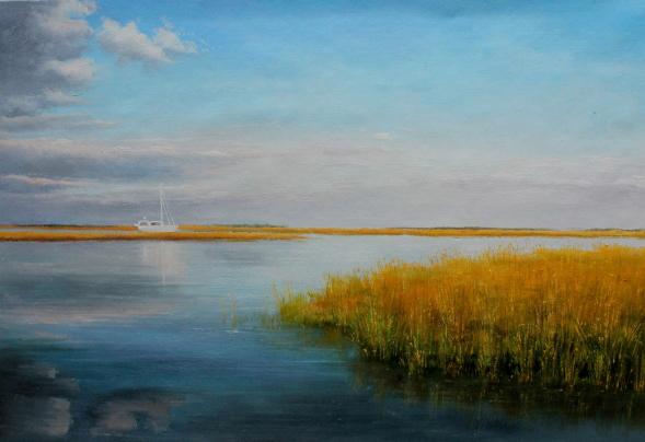 handmade painting of a lake