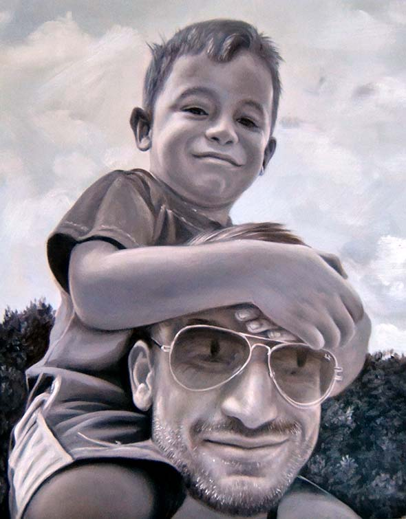 acrylic black and white painting of father and son