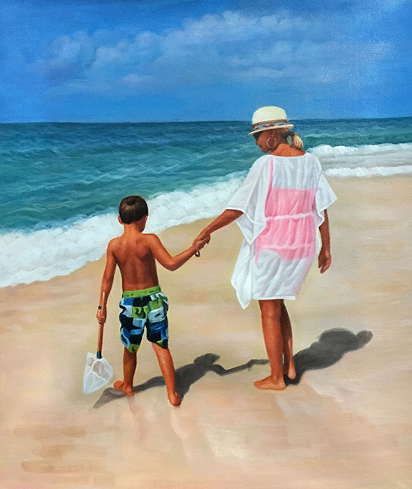 a custom oil painting of mother and child by the beach