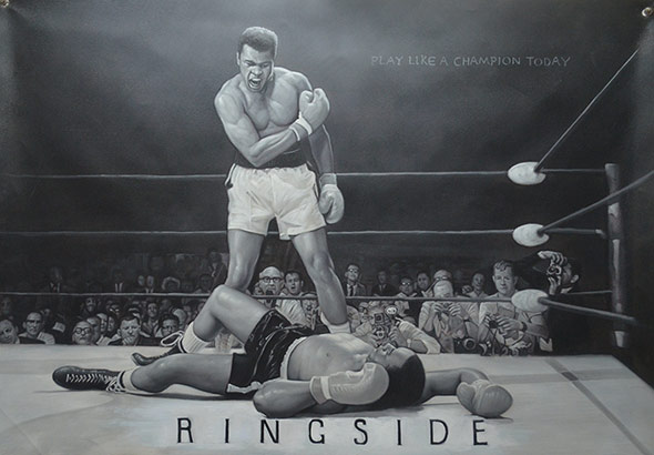 black and white oil painting of boxer champion Muhammad Ali