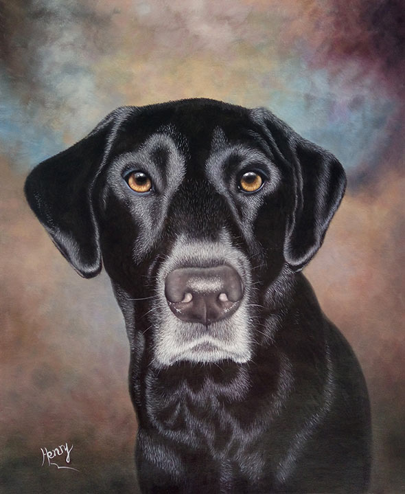 beautiful oil painting dog portrait