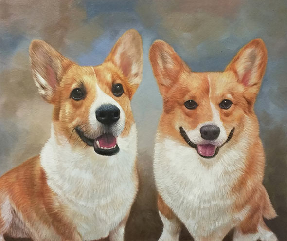 two cute dogs oil painting