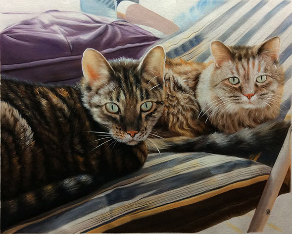 an oil painting of two cats laying on a beach chair