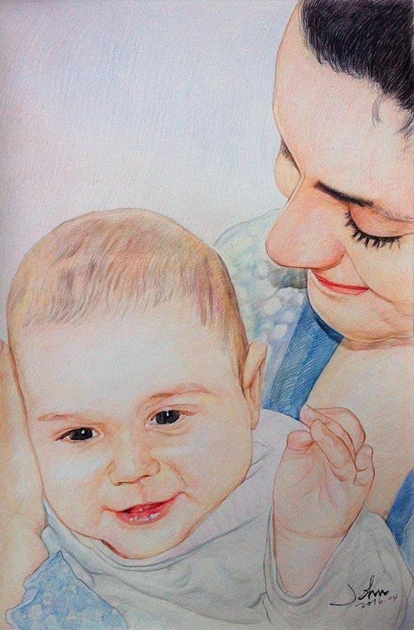 Mamma con bambino matite su carta