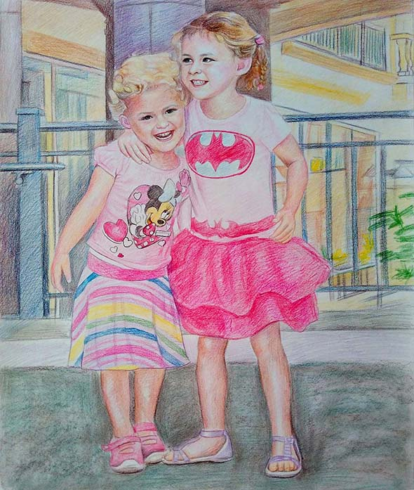 custom colored pencil drawing of two girls hugging