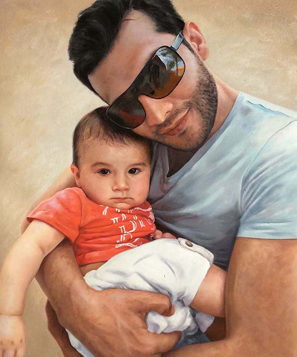 an oil painting of father and child together