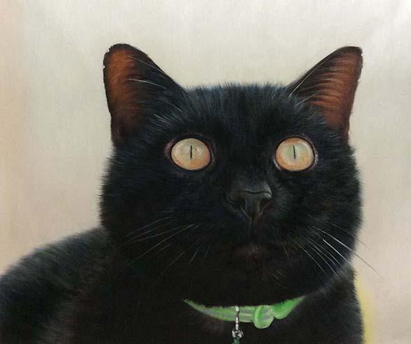 custom oil portrait of black cat