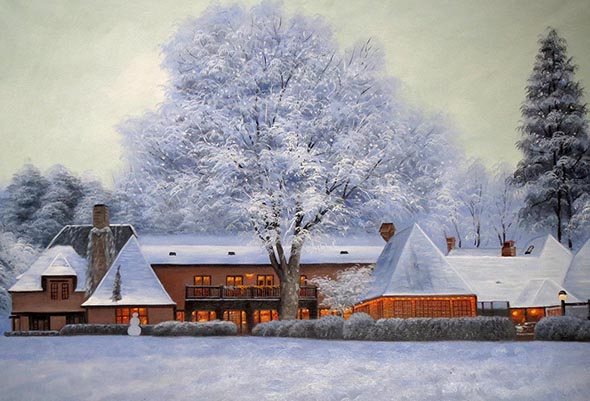 Handmade oil painting of a wooden house in snow