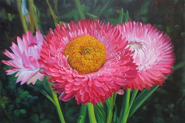 custom oil painting of beautiful pink flowers