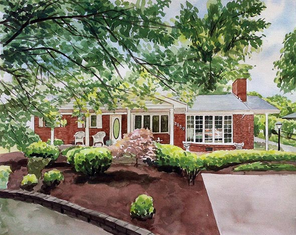 custom watercolor painting of brick house with front yard