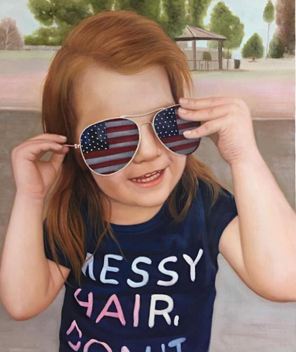 an oil painting of a little girl with usa glasses