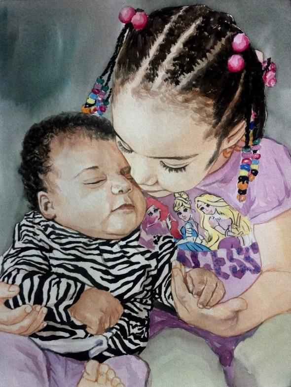 custom watercolor painting of sister holding new born
