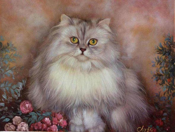 Custom oil handmade portrait of a long hair grey cat