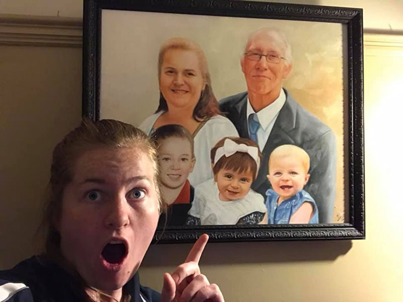 Beautiful oil portrait of a happy family