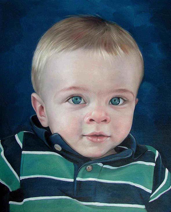 a custom oil portrait of a child with big blue eyes
