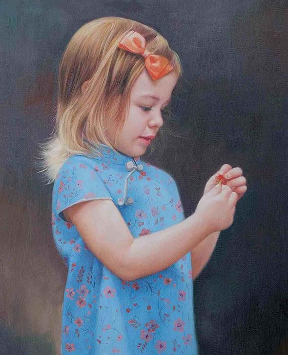 a custom oil painting of a little girl looking at a flower