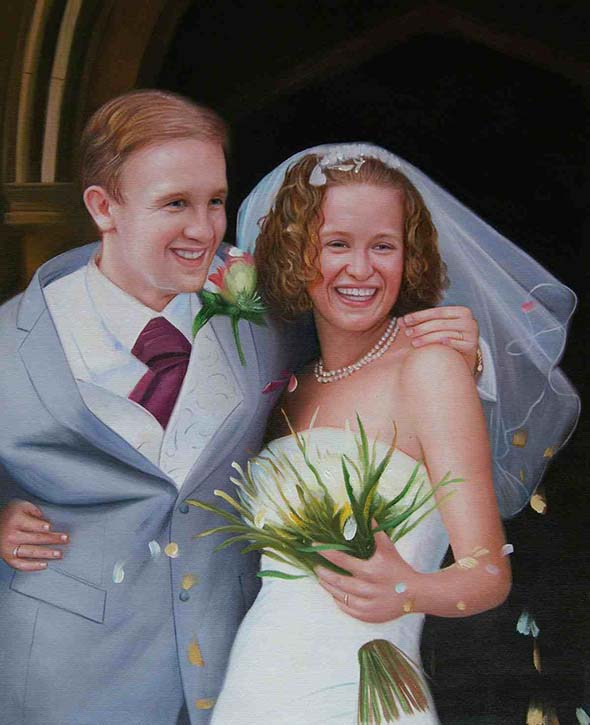 an oil painting of a ginger wedding couple