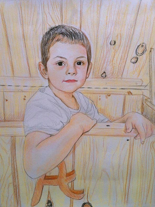 custom colored pencil of a boy sitting in a wooden box