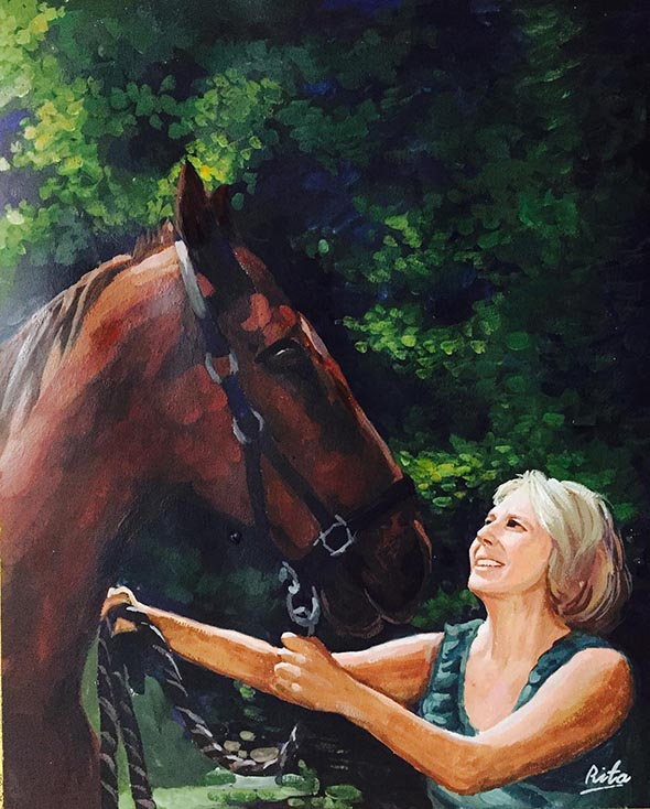 horse painting in pastel with owner