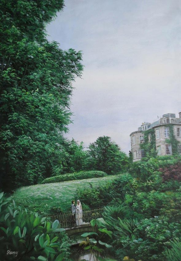 beautiful oil landscape painting.