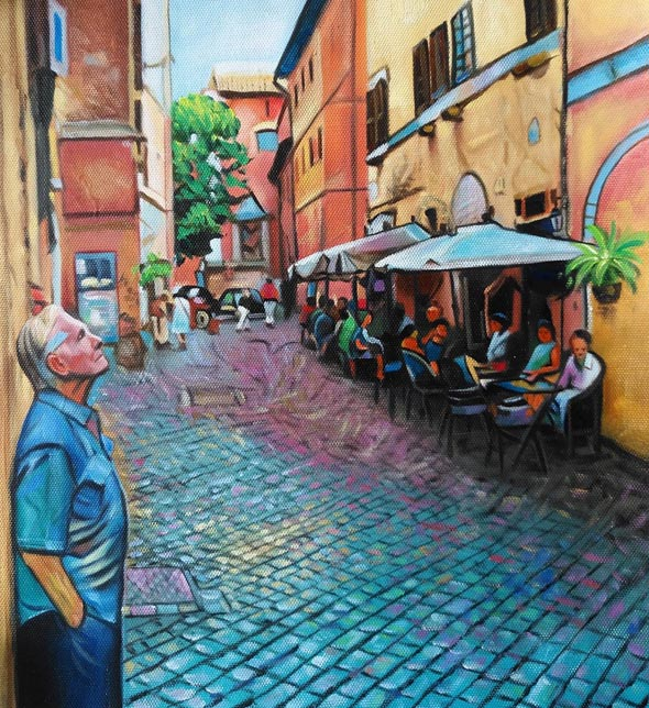 picture to oil painting of man standing by crowded cafe