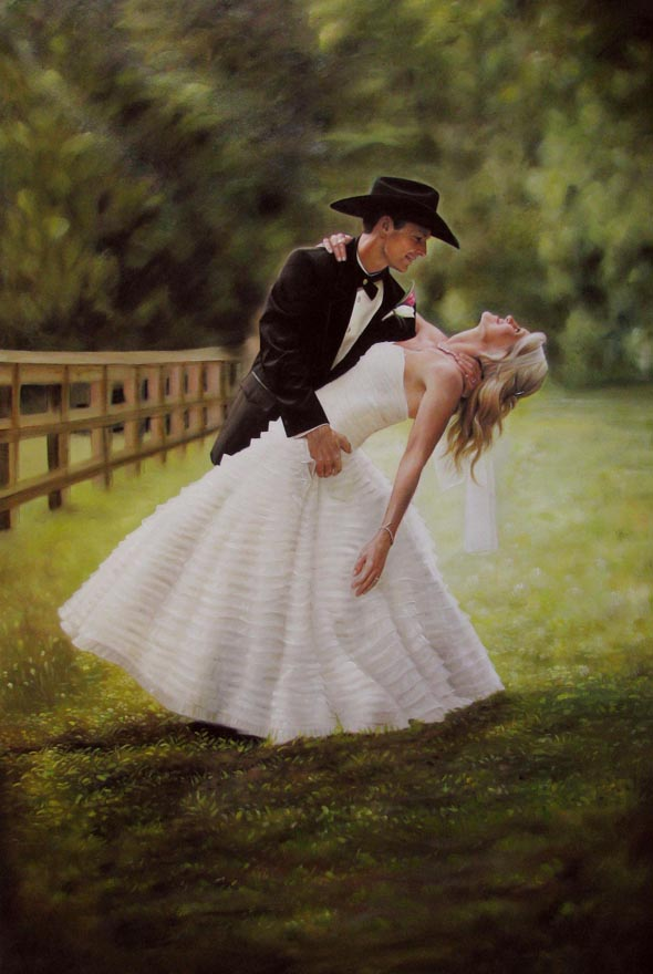 an oil painting of a wedding couple dancing in the field