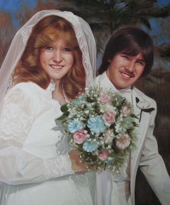 a vintage oil p[ainting of wedding couple outdoors