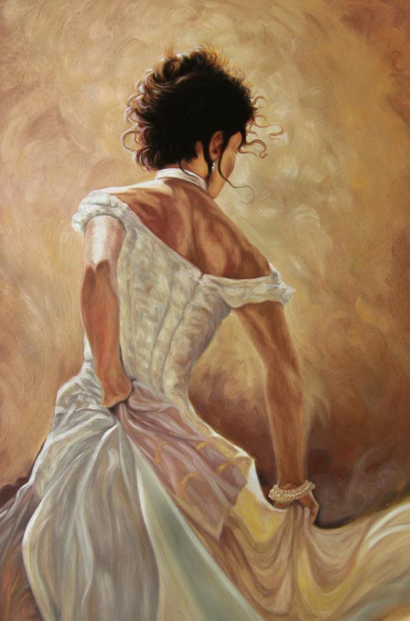 picture to oil painting of woman in dress dancing