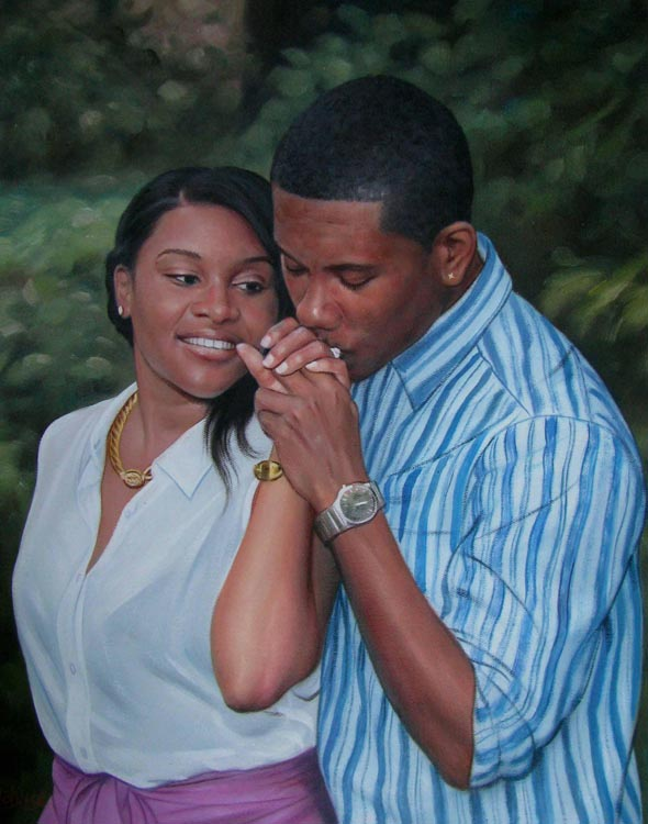 photo to oil painting of black couple man kissing woman hand