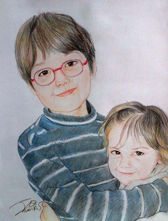 fratellini ritratto a matita colorata da foto