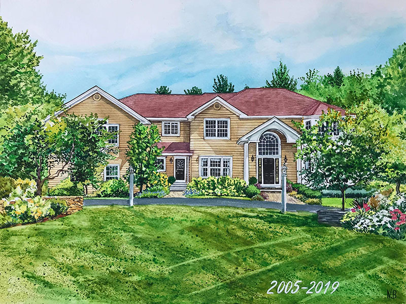 custom watercolor painting of a yellow house with trees