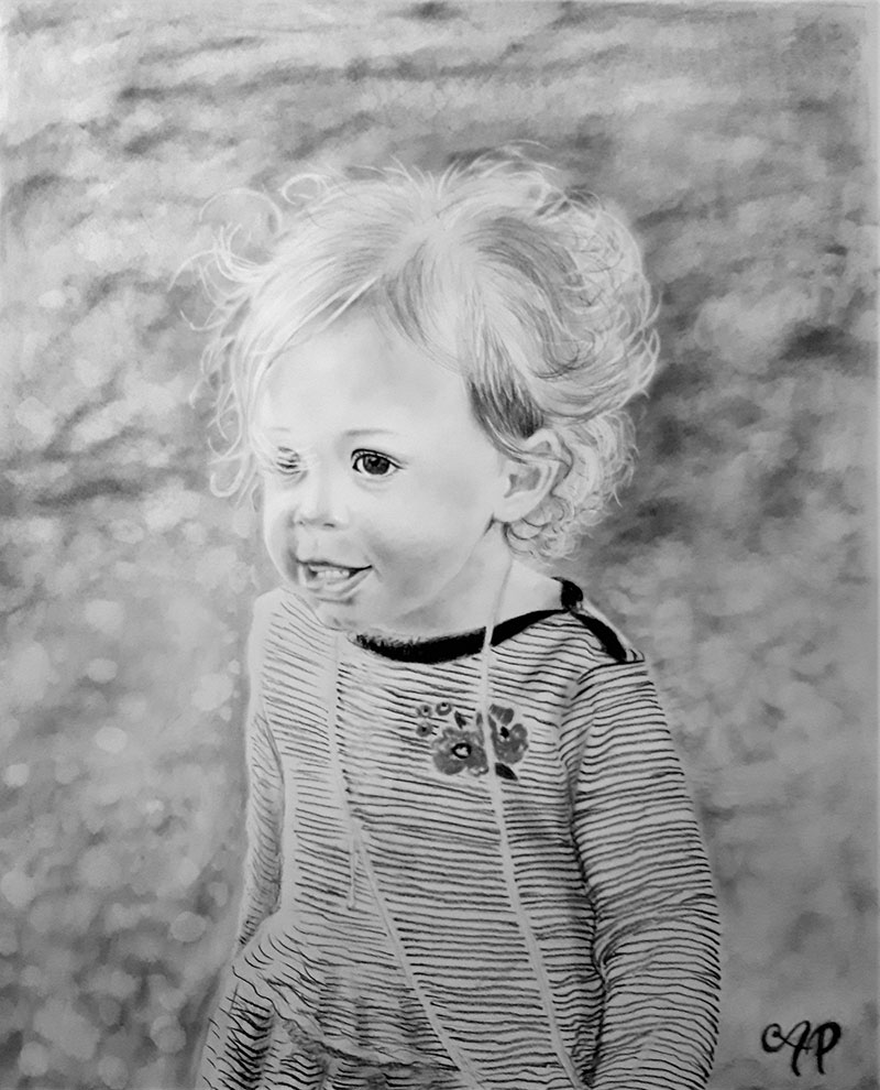 charcoal drawing of a kid