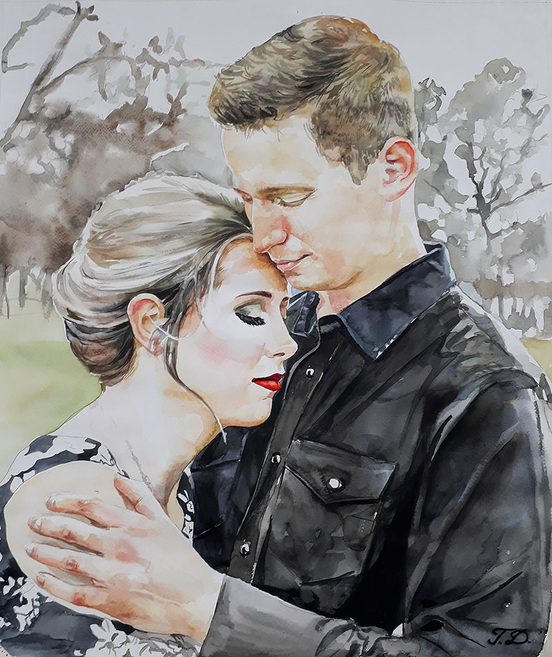 watercolor painting of couple hugging