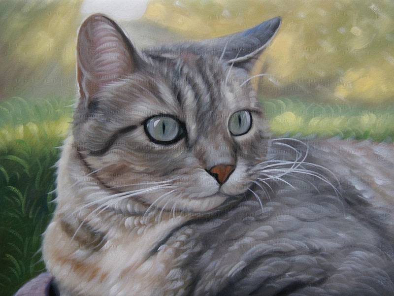 oil painting of a grey tigered cat with light green eyes