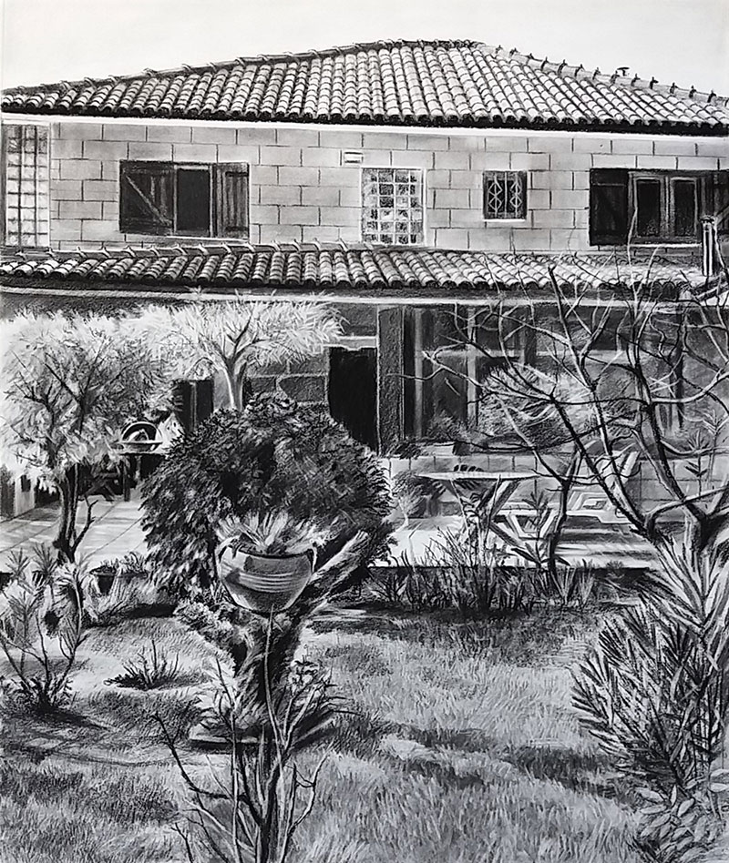 custom charcoal drawing of a house