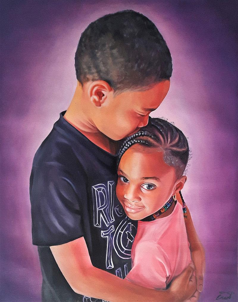 a custom oil painting of two black siblings hugging
