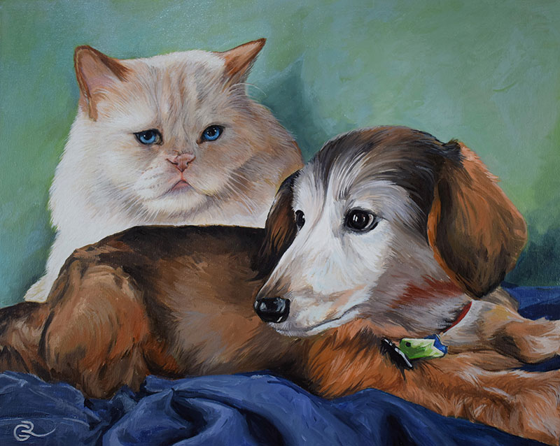 Custom oil painting of a dog and a cat