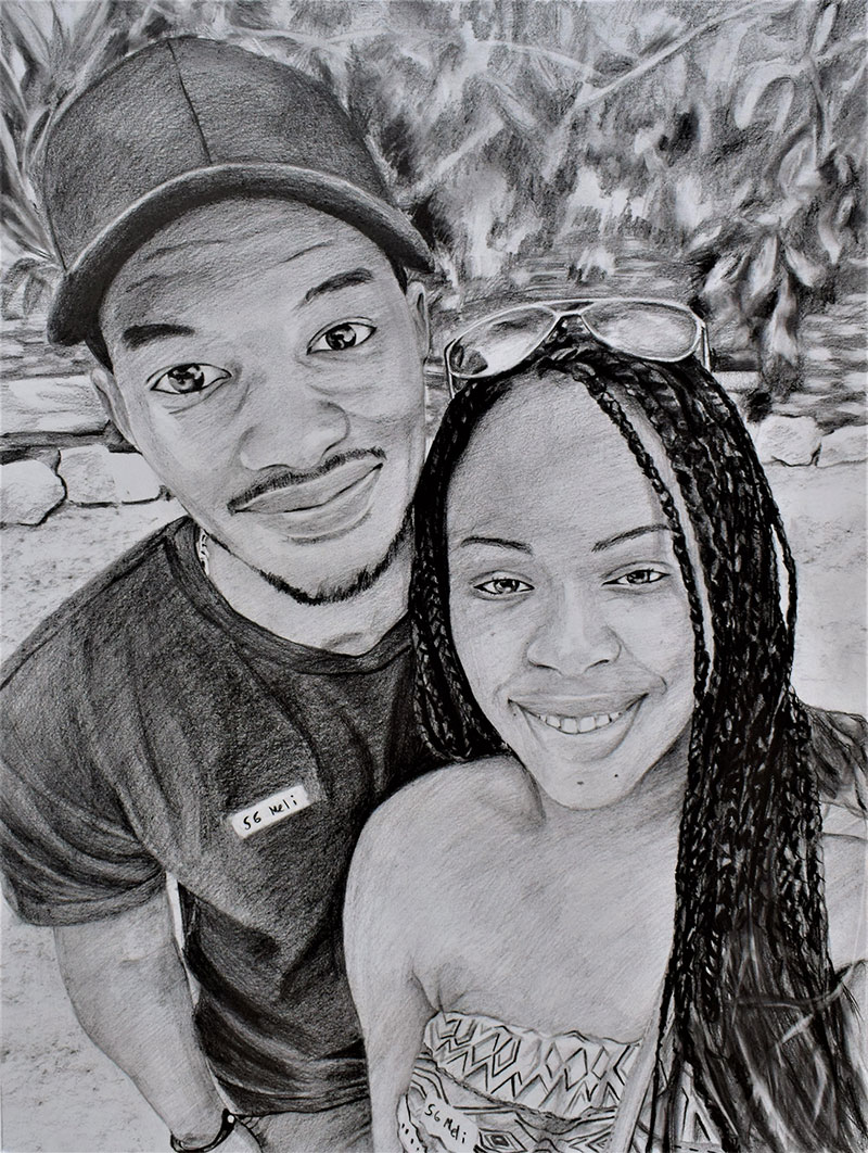 custom pencil portrait of couple