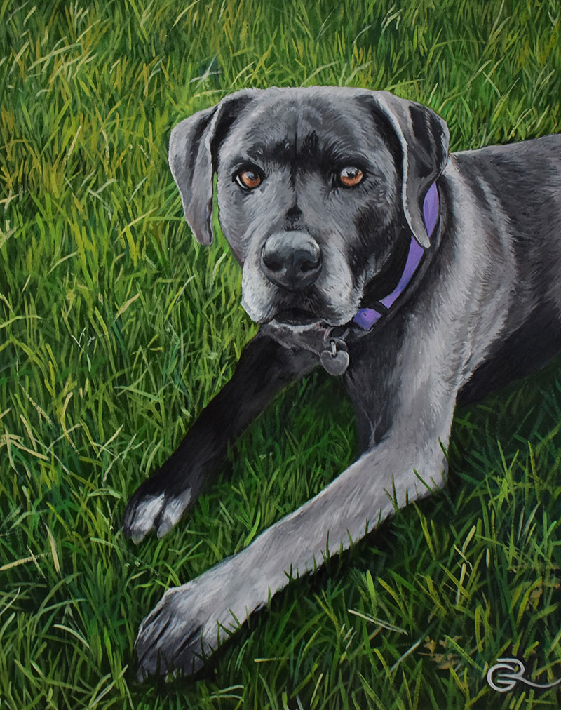 an oil painting of a black lab pup on a grass