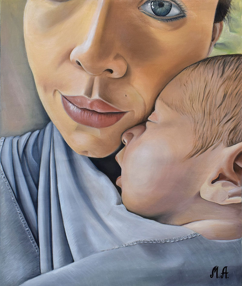 an oil painting of a mother holding her child
