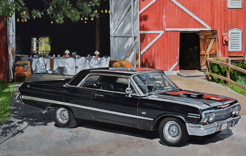 Custom oil handmade painting a black car by the barn