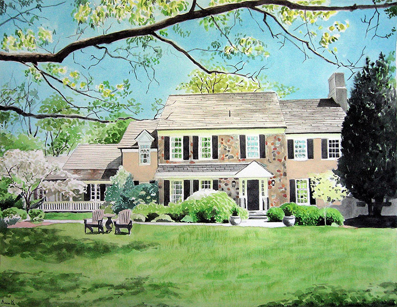 custom watercolor painting of a big house with many colors