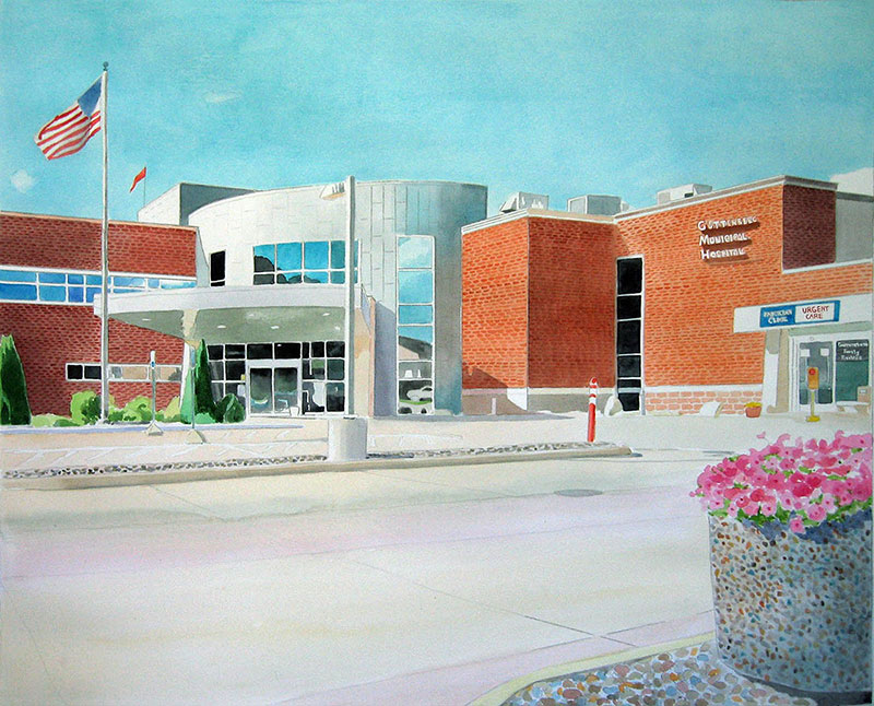 custom watercolor painting of hospital building