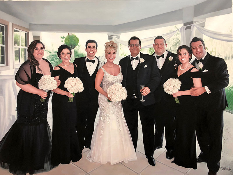 convert a group photo of a wedding to oil painting