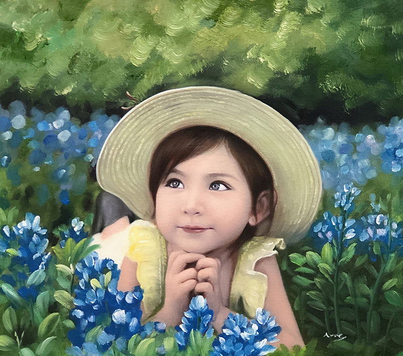 a csutom oil paintng of a child laying field blue flowers