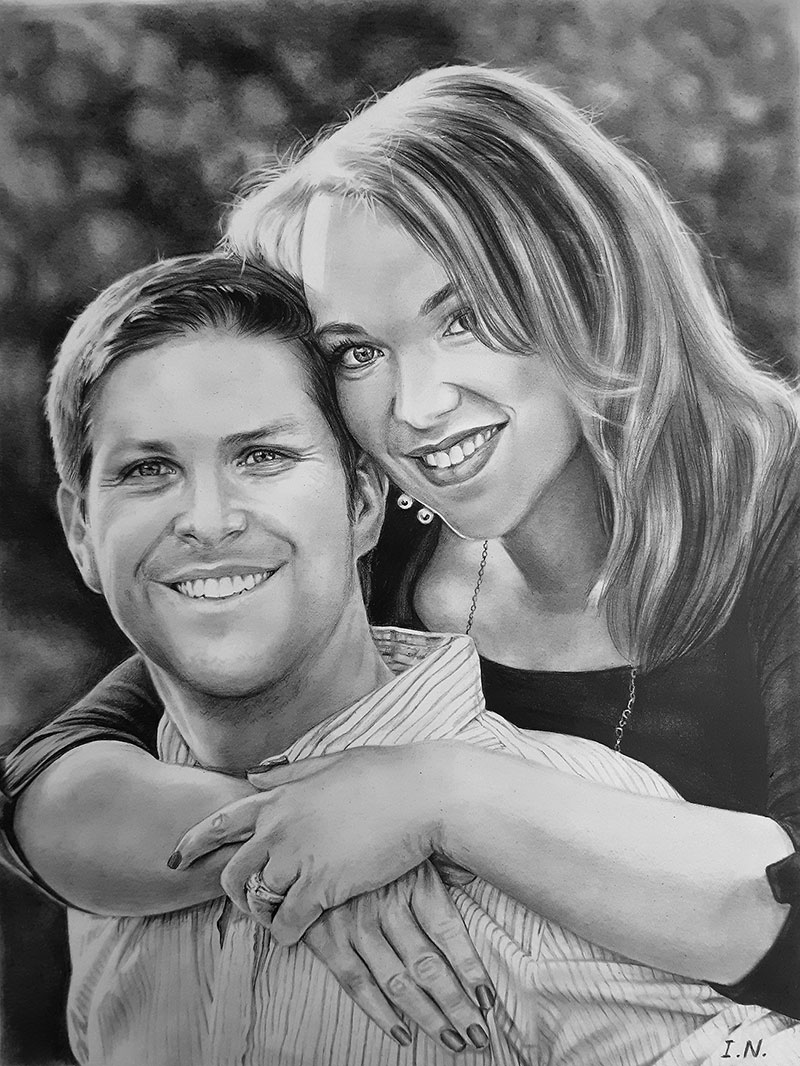 custom pencil drawing of woman hugging partner